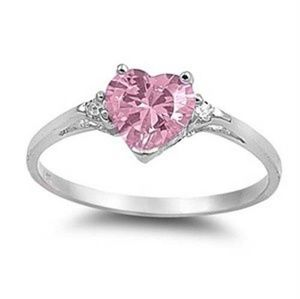 Jewelry - Pink heart shaped stone & 925 sterling silver ring